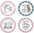 "Just Rite-3~1/4"" Round Stamp Set-Old Fashioned Christmas Borders & Centers"