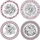 "Just Rite-3~1/4"" Round Stamp Set-My Garden Borders & Centers"