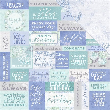 "KaiserCraft - Lilac Whisper Collection - 12""x12"" Double Sided Cardstock - Well Wishes"