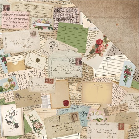 "KaiserCraft - Cherry Tree Lane Collection - 12""x12"" Double Sided Cardstock - Correspondence"