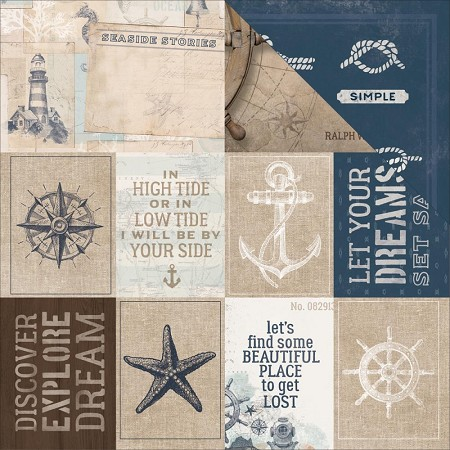 "KaiserCraft - High Tide Collection - 12""x12"" Double Sided Cardstock - Set Sail"