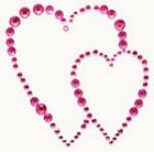 Kaiser-Rhinestone Picture-Hearts-Hot Pink