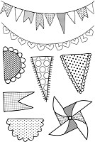 Kaisercraft - Save The Date Collection - Clear Stamps - Pennants