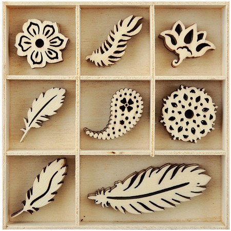 KaiserCraft - UBud Dreams Collection - Feathers Wooden Shapes