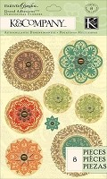 K & Co. Engraved Garden Medallion Grand Adhesions (Vellum Stickers)