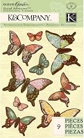 K & Co. Engraved Garden Butterfly Grand Adhesions (vellum stickers)