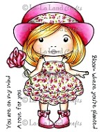 La-La Land Crafts - Rubber Cling Stamp - Marci with Rose