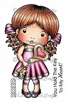 La-La Land Crafts - Rubber Cling Stamp - Heart Key Marci