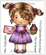 La-La Land Crafts - Rubber Cling Stamp - Heart Cupcake Marci (with Sentiments)