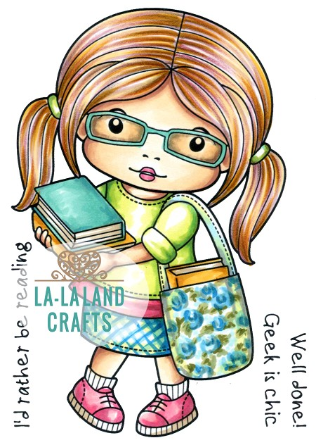 La-La Land Crafts - Rubber Cling Stamp - Marci with Books