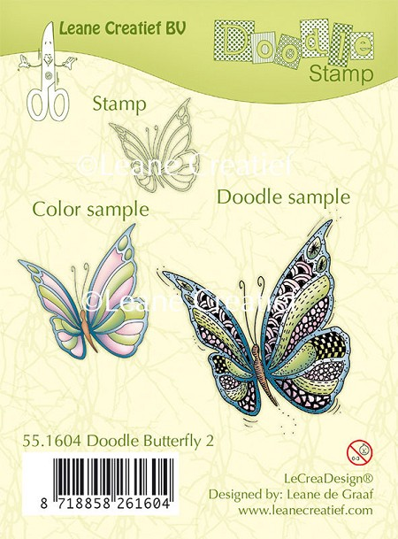 leane creatif leabilities clear stamp doodle butterfly 2 - Color Butterfly 2