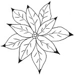 Magenta - Cling Rubber Stamp - Doodle Poinsettia 2