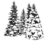 Magenta - Cling Rubber Stamp - Snowy Evergreens