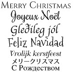 Magenta - Cling Rubber Stamp - Multilingual Merry Christmas