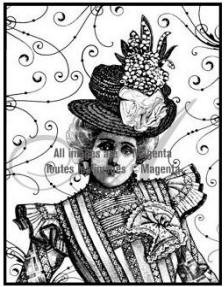 Magenta-Cling Stamp-Victorian Lady