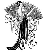 Magenta - Cling Rubber Stamp - Lady with Fan