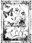 Magenta-Cling Stamp-Butterfly Garden
