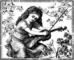 Magenta-Cling Stamp-Violin Girl