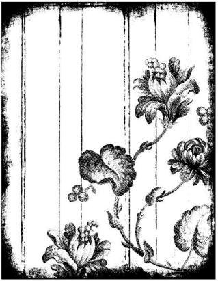 Magenta-Cling Stamp-Distressed Gypsy Floral Panel