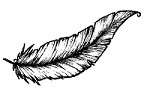 Magenta - Cling Rubber Stamp - Small Feather