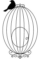 Magenta - Cling Rubber Stamp - Small Bird Cage