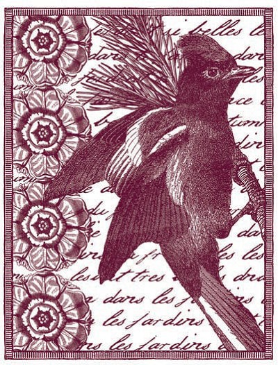 Magenta-Cling Stamp-Jaybird on Branch Collage