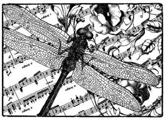 Magenta-Cling Stamp-Dragonfly Music Collage