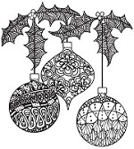 Magenta - Cling Rubber Stamp - Doodled Ornaments