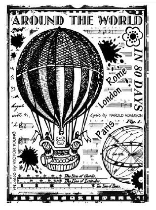 Magenta - Cling Rubber Stamp - Balloon Race by Crafty Individuals