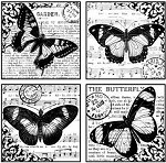Magenta-Cling Stamp-Butterflies Collage Quad