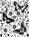 Magenta-Cling Stamp-Dancing Butterflies