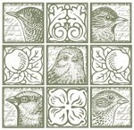 Magenta-Cling Stamp-Feathered Faces Tile