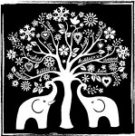 Magenta Cling Stamp - Elephant Tree