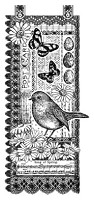 Magenta - Cling Rubber Stamp - Bird Collage Banner by Crafty Individuals