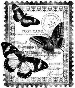 Magenta-Cling Stamp-Papillion Post Card