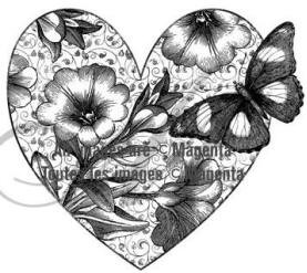 Magenta-Cling Stamp-Flourishing Heart & Butterfly