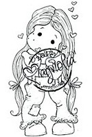 Magnolia - Cling Mounted Rubber Stamp - Tilda blowing Hearts