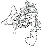 Magnolia - Cling Mounted Rubber Stamp - Tilda with Dot Bow