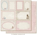 "Maja Design - Vintage Baby Collection - 12""x12"" Double Sided Cardstock - Journaling Cards Pink (not pre-cut)"