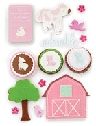 Making Memories - Pitter Patter Collection - 3 Dimensional Stickers w/ Glitter Accents - Sophie
