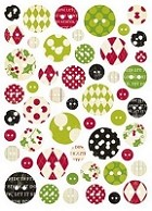 Making Memories - Mistletoe Collection - Chipboard Button Stickers