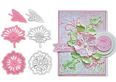 Marianne - Collectables Die and Clear Stamp Set - Two Flowers
