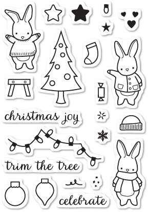 Memory Box - Open Studio Clear Stamp Set - Holiday Bunnies Clear Stamp Set