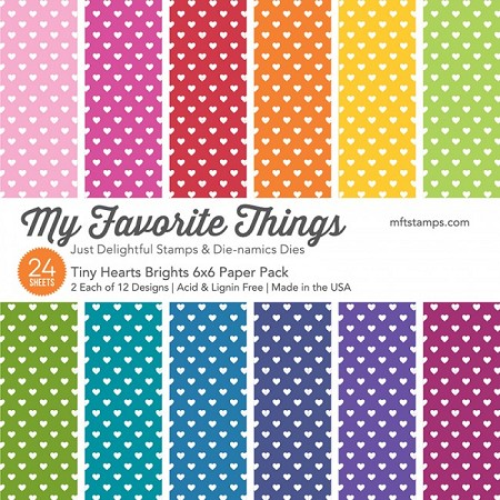 "My Favorite Things - 6""x6"" paper pad - Tiny Hearts Brights Paper Pack"