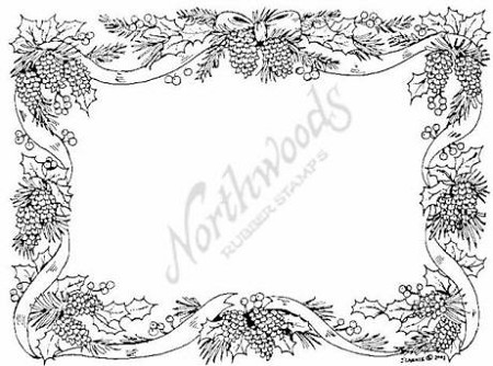 Northwoods Rubber Stamp - Pine Cone & Ribbon Frame