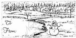 Northwoods Rubber Stamp - Snowman & Farm Gift Tag