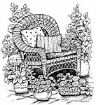Northwoods Rubber Stamp Wicker Chair with Flowers