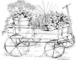 Northwoods Rubber Stamp Wagon w/ Potted Flowers