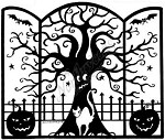 Northwoods Rubber Stamp -Tri Fold Solid Tree and Fence