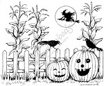 Northwoods Rubber Stamp -Cornstalks, Jacks and Fence